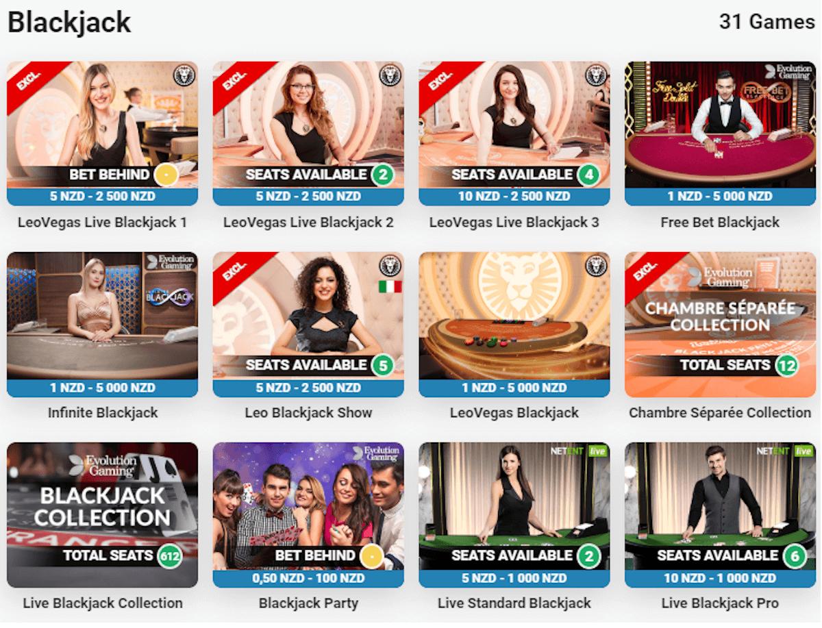 live blackjack casino NZ