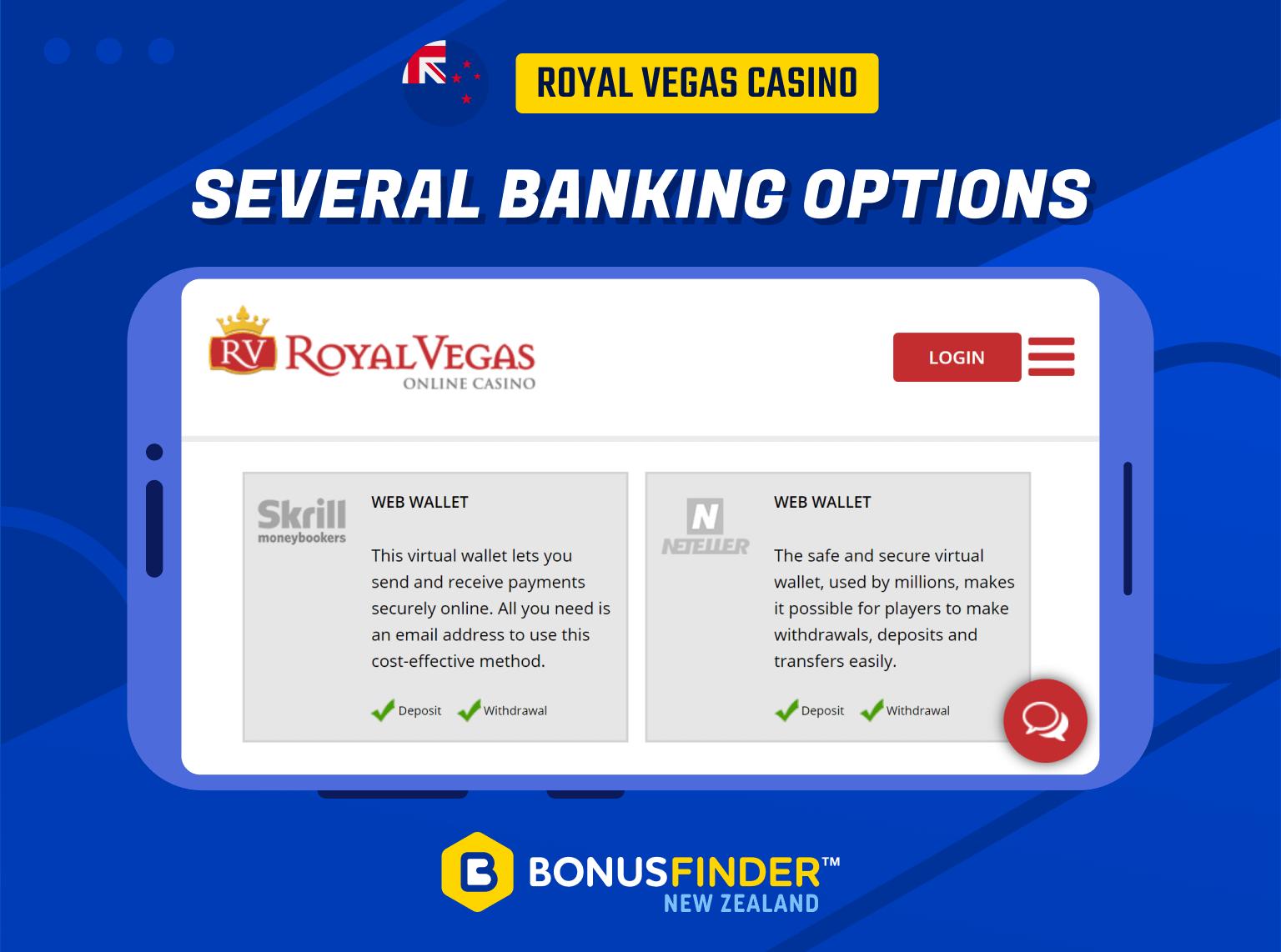 royal vegas nz banking