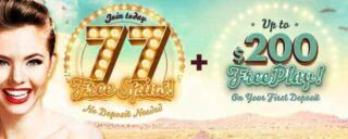 Receive 77 no-deposit free spins and up to $200 FreePlay when you join 777