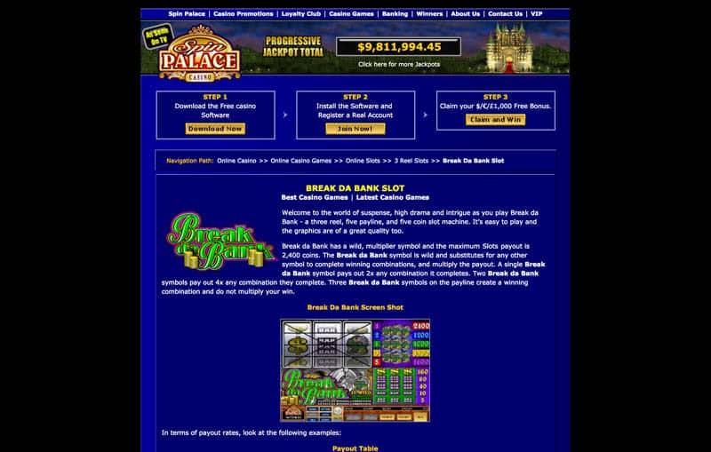 Spin Casino Break Da Bank