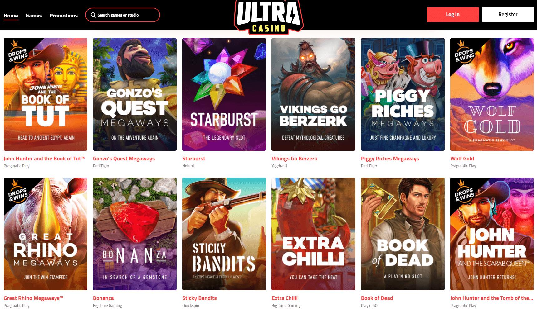 ultra casino slots lobby